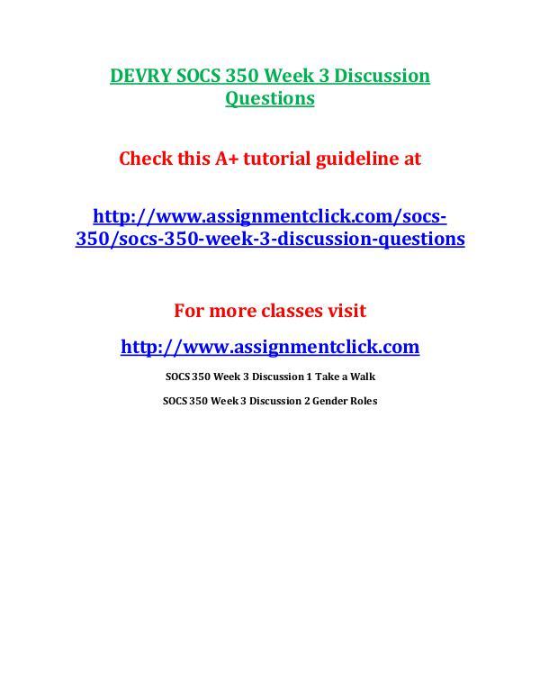 DEVRY SOCS 350 Week 3 Discussion Questions