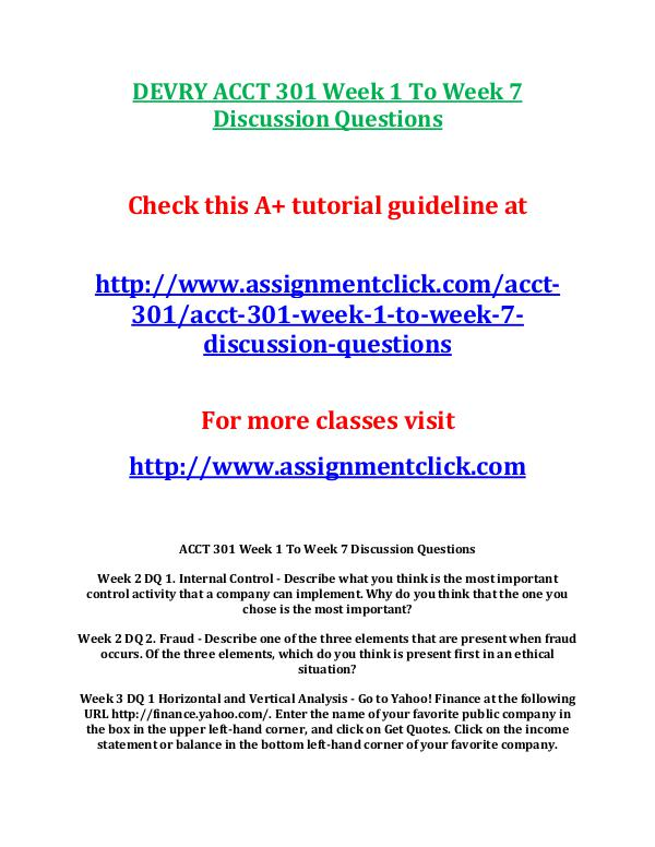 DEVRY ACCT 301 Week 1 To Week 7 Discussion Questio