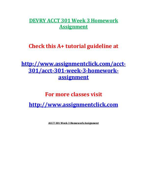 DEVRY ACCT 301 Week 3 Homework Assignment
