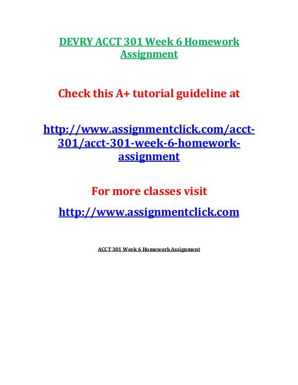 DEVRY ACCT 301 Week 6 Homework Assignment