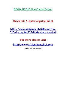 DEVRY FIN 515 Entire Course NEW