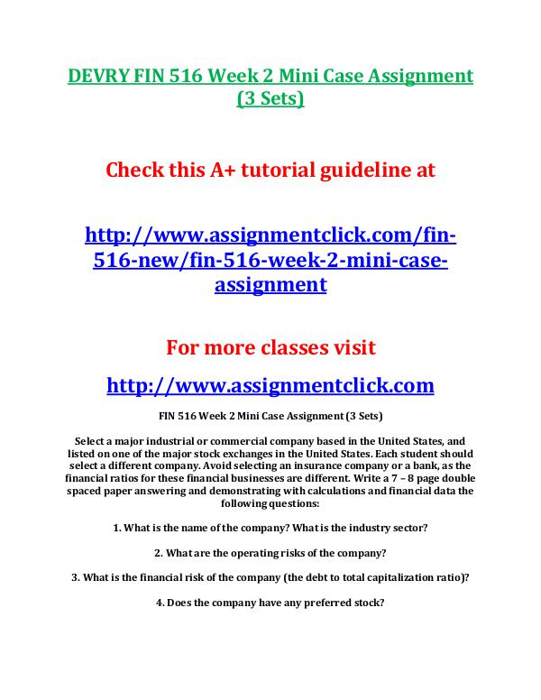 DEVRY FIN 516 Entire Course NEW DEVRY FIN 516 Week 2 Mini Case Assignment (3 Sets)