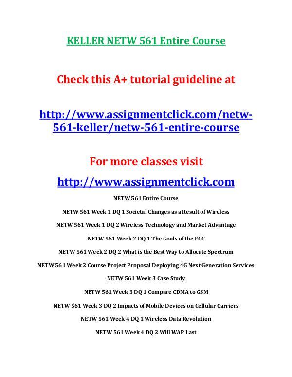 KELLER NETW 561 Entire Course KELLER NETW 561 Entire Course