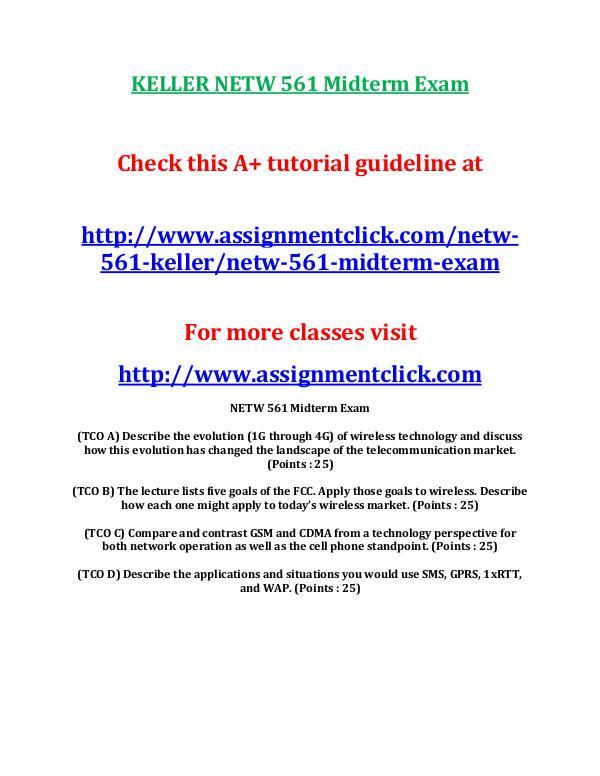 KELLER NETW 561 Entire Course KELLER NETW 561 Midterm Exam