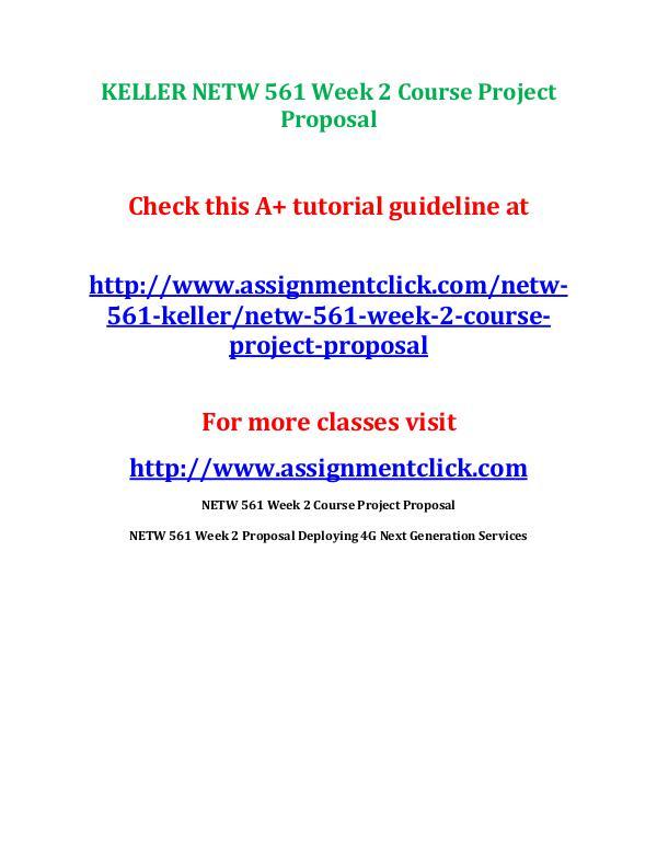 KELLER NETW 561 Week 2 Course Project Proposal