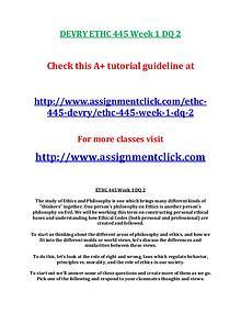 DEVRY ETHC 445 Entire Course