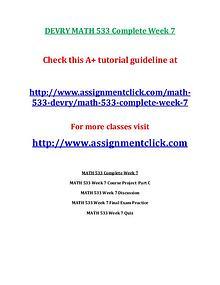 DEVRY MATH 533 Entire Course