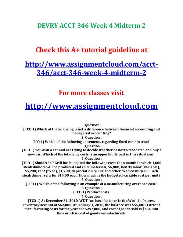 Devry ACCT 346 entire course DEVRY ACCT 346 Week 6 Quiz