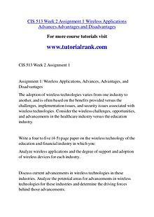 CIS 513 Course Great Wisdom / tutorialrank.com