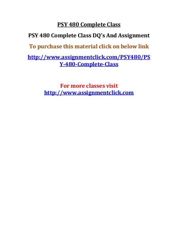 UOP PSY 480 Complete Class
