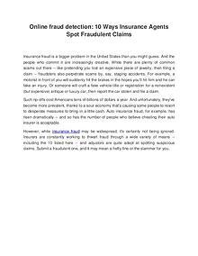 Online fraud detection: 10 Ways Insurance Agents Spot Fraudulent