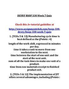 DEVRY BSOP 330 Entire Course