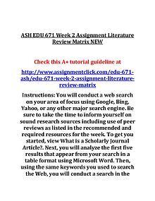 ASH EDU 671 Entire Course