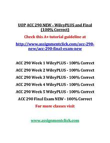 UOP ACC 290 NEW Entire Course