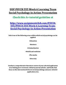 UOP PSYCH 555 Entire Course