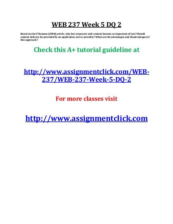 uop web 237 entire course UOP WEB 237 Week 5 DQ 2