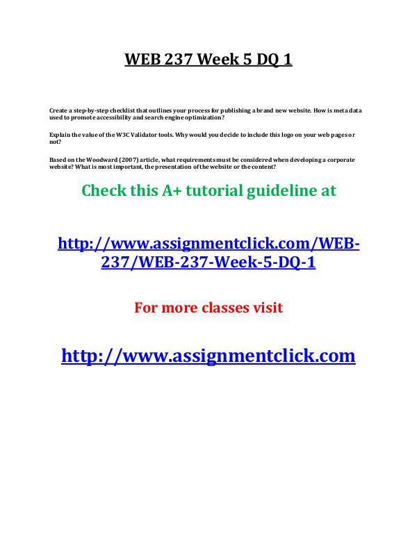 uop web 237 entire course UOP WEB 237 Week 5 DQ 1