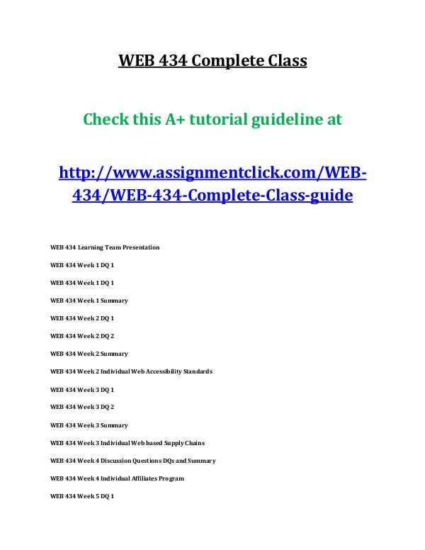 uop web 434 entire course UOP WEB 434 Complete Class