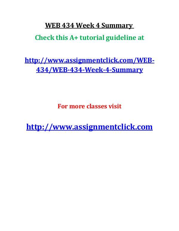 UOP WEB 434 Week 4 Summary