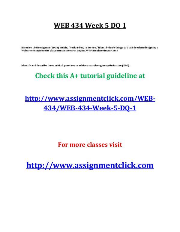 UOP WEB 434 Week 5 DQ 1