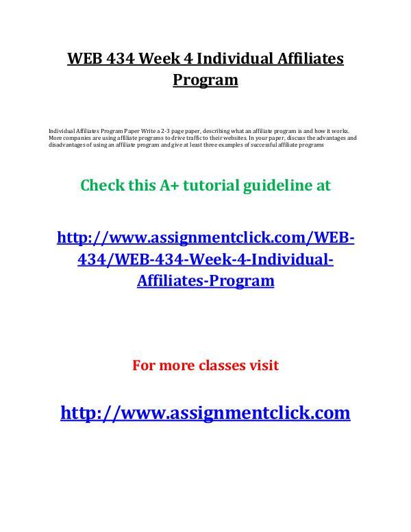uop web 434 entire course UOP WEB 434 Week 4 Individual Affiliates Program