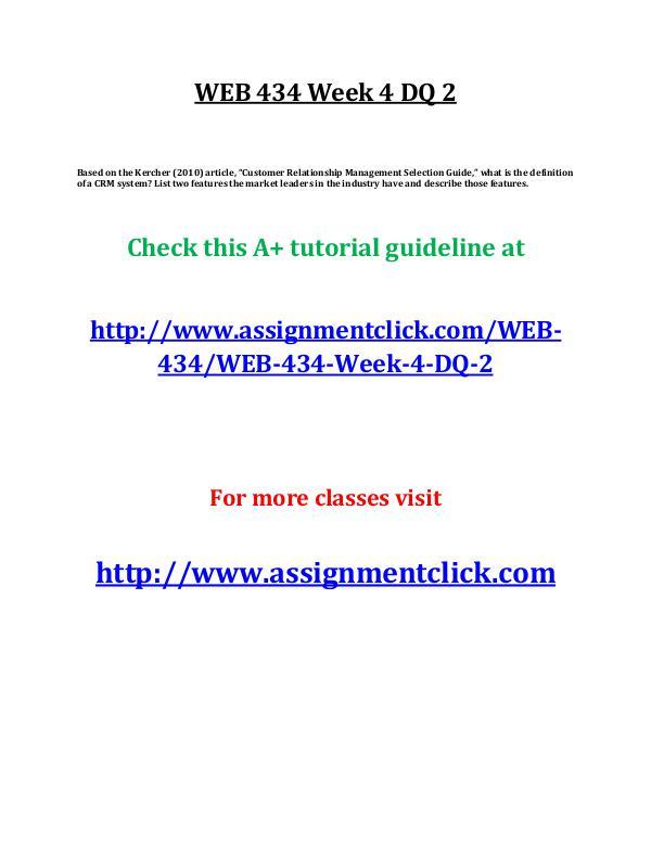 UOP WEB 434 Week 4 DQ 2