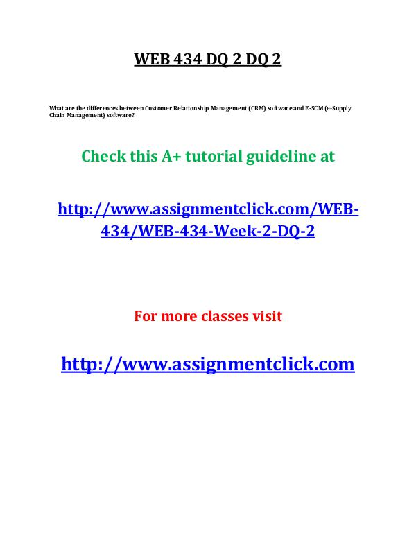 uop web 434 entire course UOP WEB 434 Week 1 DQ 2