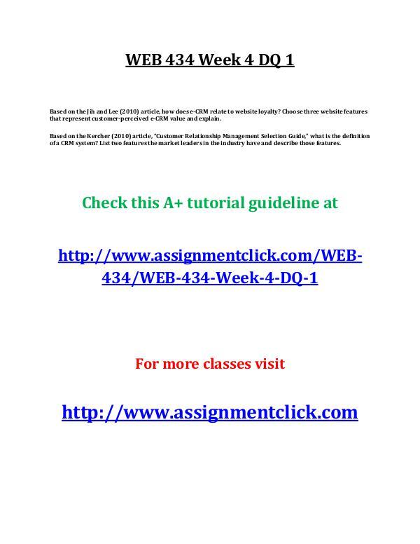 UOP WEB 434 Week 4 DQ 1