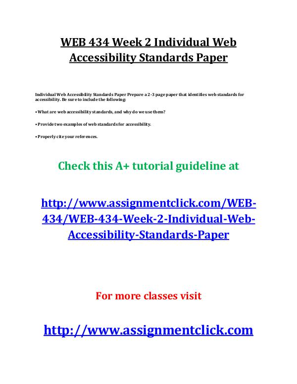 UOP WEB 434 Week 2 Individual Web Accessibility St