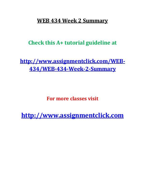 uop web 434 entire course UOP WEB 434 Week 2 Summary