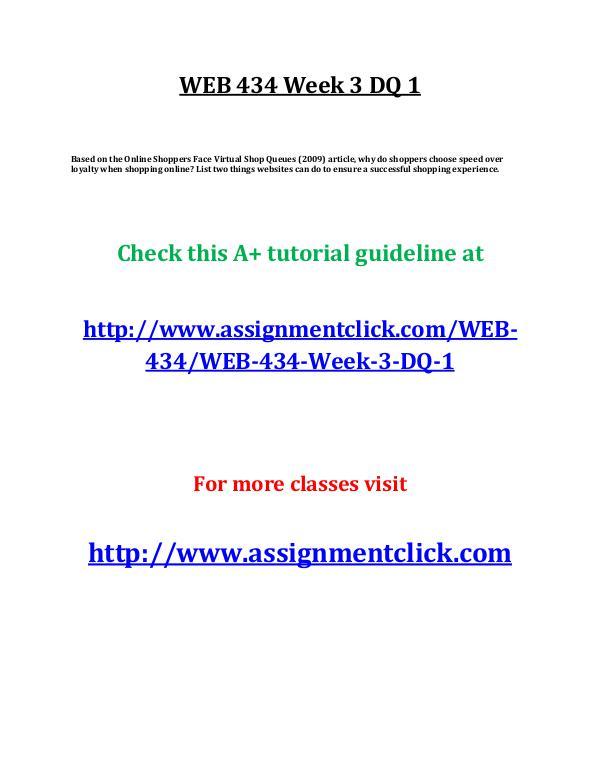 UOP WEB 434 Week 3 DQ 1