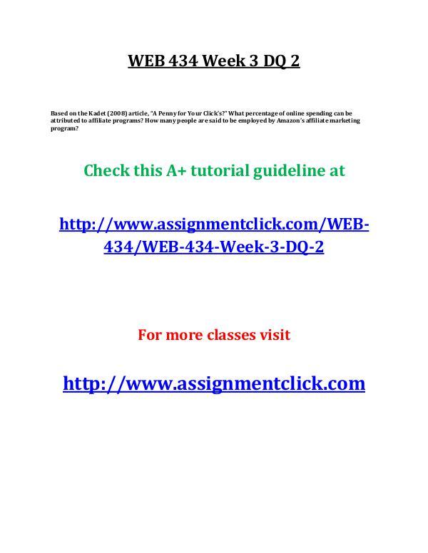 UOP WEB 434 Week 3 DQ 2