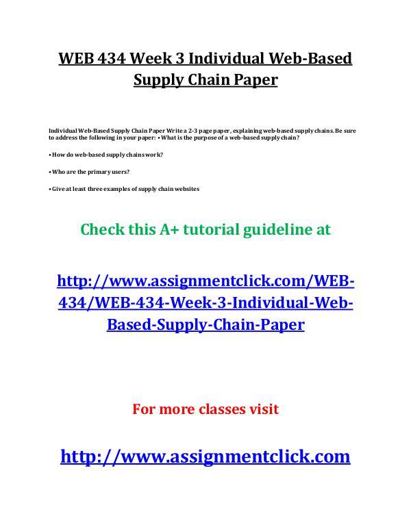 UOP WEB 434 Week 3 Individual Web-Based Supply Cha