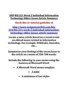 UOP BIS 221 Entire CourseUOP BIS 221 Entire Course