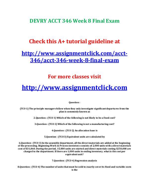 DEVRY ACCT 346 Week 8 Final Exam