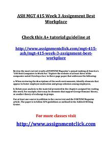 ASH MGT 415 Entire Course