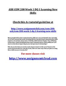 ASH COM 200 Entire Course