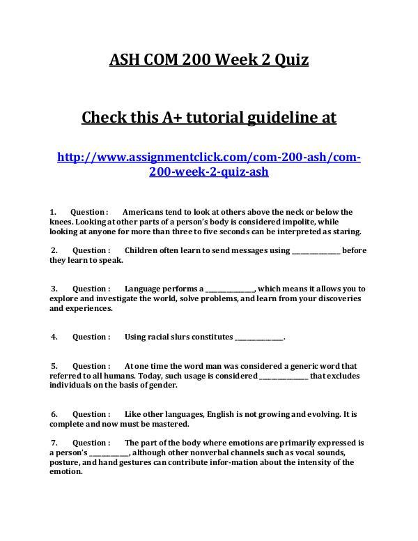 ASH COM 200 Week 2 Quiz