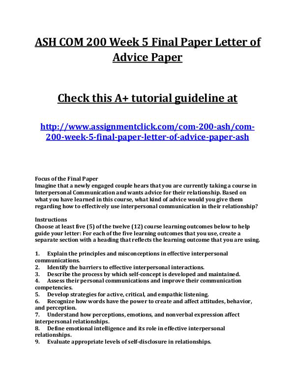 ASH COM 200 Week 5 Final Paper Letter of Advice Pa