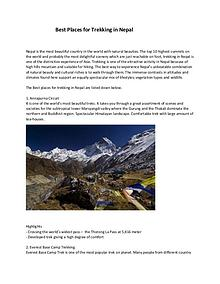 Best Places for Trekking in Nepal