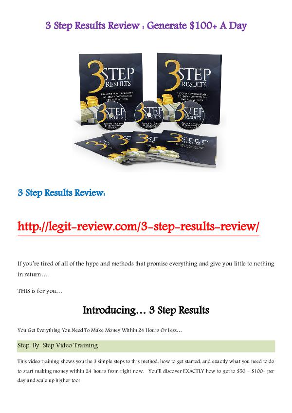 3 Step Results Review - Generate $100+ A Day Dec 2016