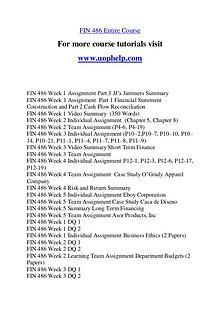 FIN 486 Expect Success/uophelp.com