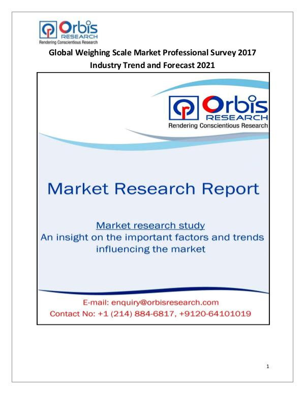 Global Weighing Scale Market Professional Survey