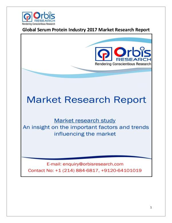 Research Report : Global Serum Protein Market