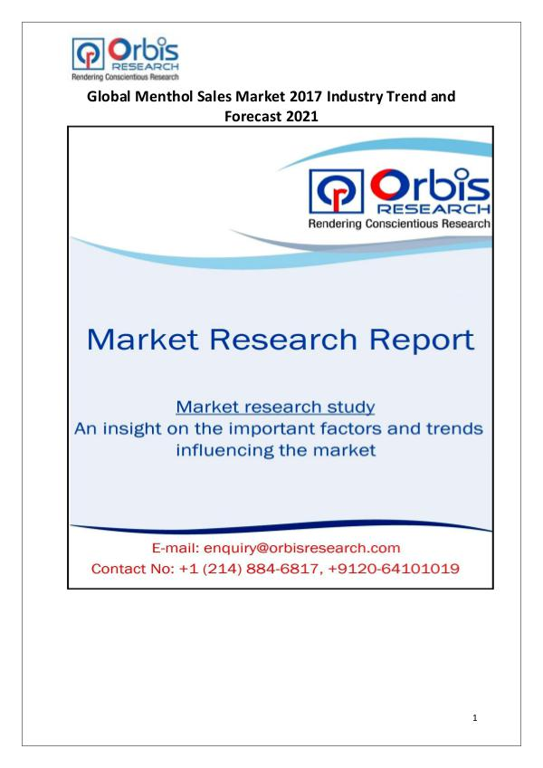 Global Menthol Sales Industry 2017 Market Research Report Global Menthol Sales Industry  2017