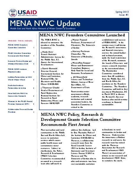 MENA NWC Update Spring 2013