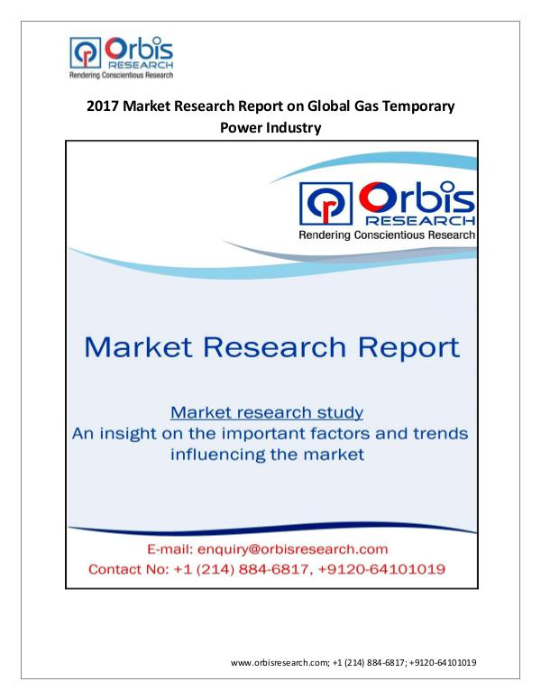 Global Gas Temporary Power Market 2017 Latest Repo