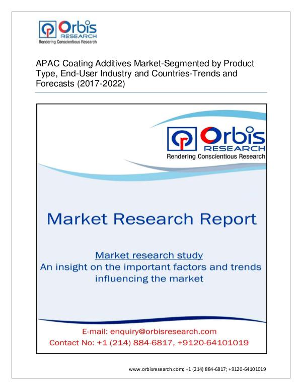 Orbis Research Adds a New Report APAC Coating Addi