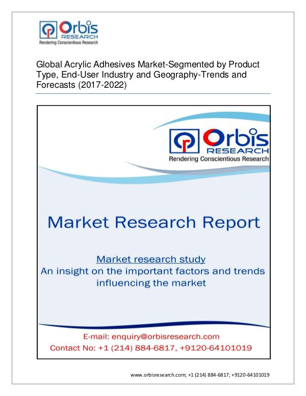Global acrylic adhesives market to grow rate of  5
