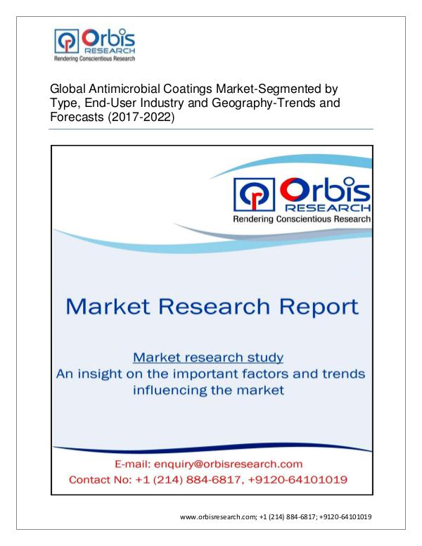 Chemical and Materials Market Research Report 2017-2022 Global Market for Antimicrobial Coatings